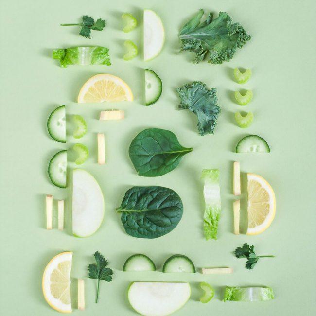 Grüne Früchte und Gemüsesorten